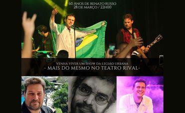 A banda Mais do Mesmo traz ao palco do Teatro Rival o show 'Renato Russo – 60 Anos'